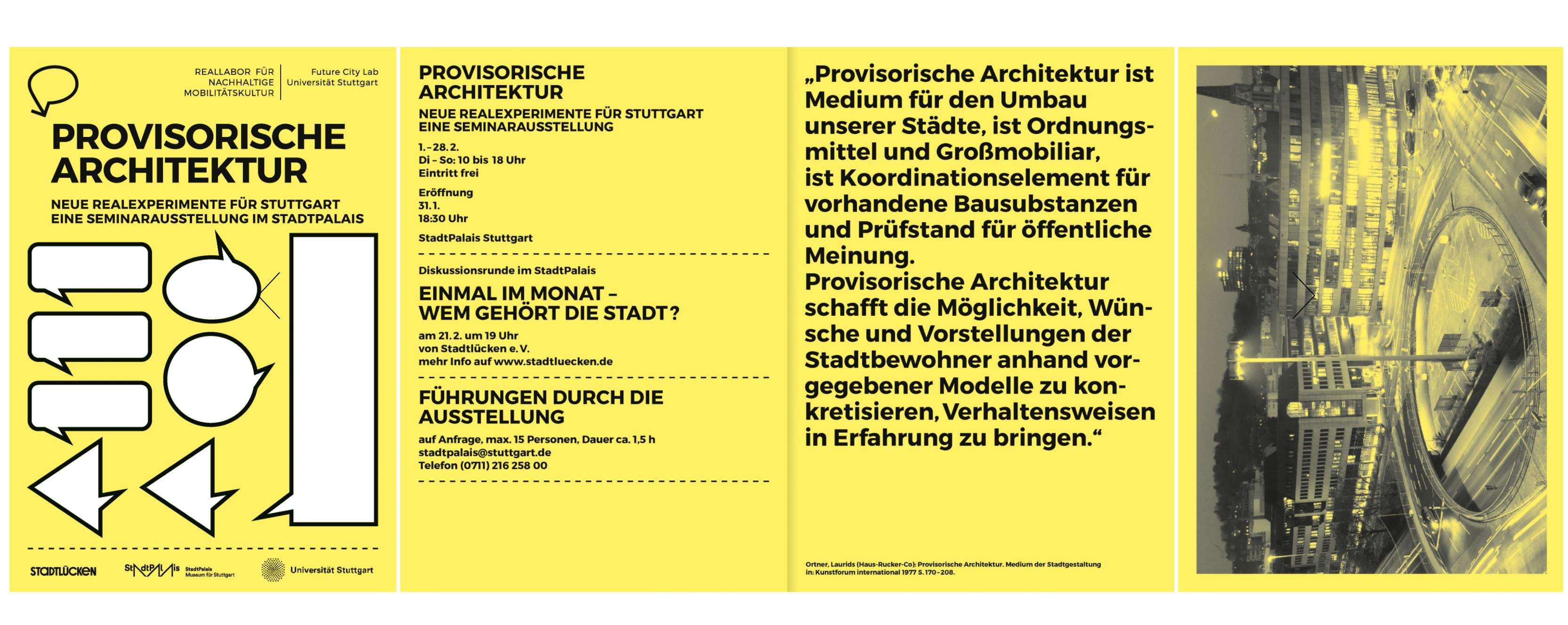Ausstellung Provisorische Architektur Stadtpalais Sebastian klawiter Martina Baum reallabor für nachhaltige Mobilitätskultur uni stuttgart städtebau Institut